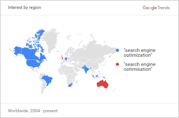 Google Trends map of worldwide locations using optimization vs optimisation.