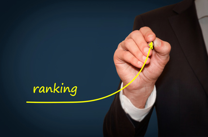 Businessman drawing growing line symbolizing ranking increase