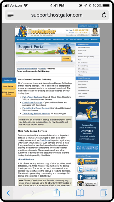 HostGator's support documentation is not mobile-friendly