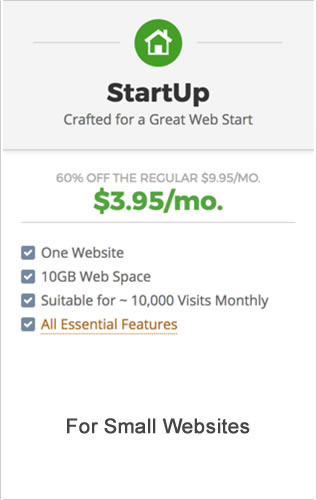 SiteGround StartUp plan pricing for small websites