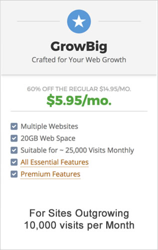 SiteGround GrowBig web hosting plan pricing.