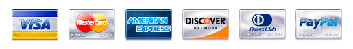 Payment card logos, Visa, Mastercard, American Express, Discover, and Diners Club